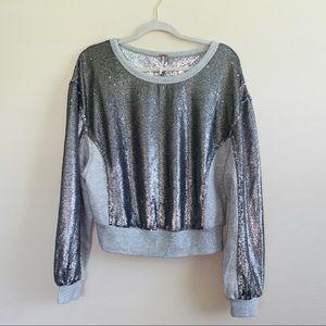 Free People Gray Sequins Crewneck Sweatshirt Sz M